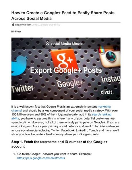 Start developing your social media marketing plan by writing down at least three goals for social media. How to Create a Google+ Feed to Easily Share Posts Across ...