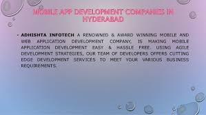 Mobile apps have taken customer engagement to a whole new level. Mobile App Development Companies In Hyderabad