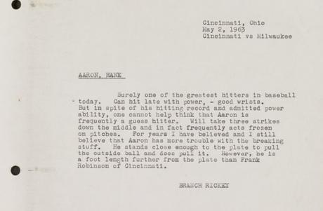 Branch Rickey's scouting report of Hank Aaron