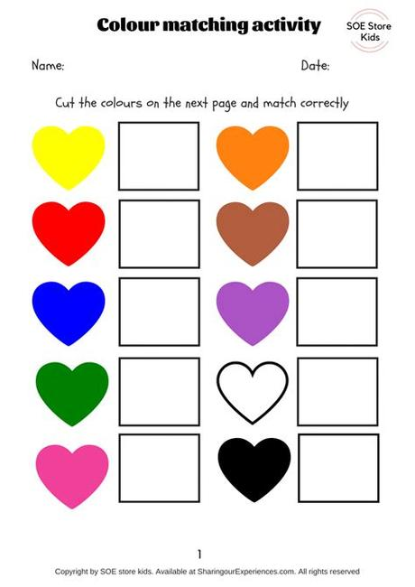 One shows six kids (three girls, three boys) dressed in blue, green, purple, red, yellow, and pink holding a crayon in their color. Free Colors matching activities for toddlers printable pdf ...