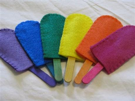 Color match and colors sorting activities is a fun game for preschoolers and toddlers. Felt Popsicles Color Match Game Waldorf/Montessori Learning