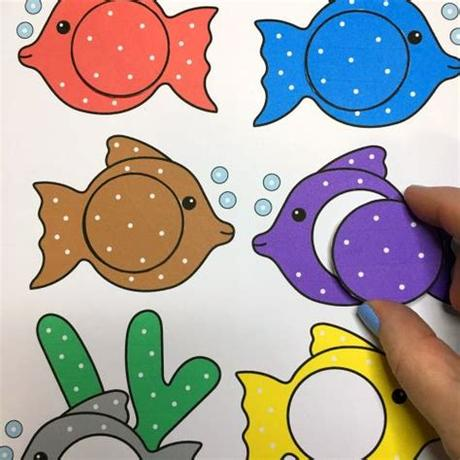 You can use this fruit loop rainbow printable template with fruit loops, skittles, m&m, or any other colorful snack you like. fish color match for preschool and kindergarten ...
