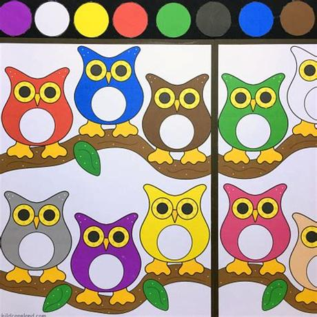 Use your nature art box to create art with natural materials! Owl Color Match File Folder Game