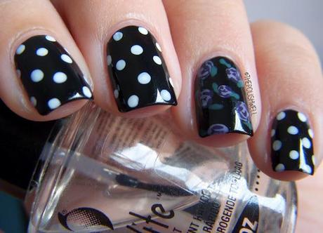 Nail Ideas: Roses and Polka Dots