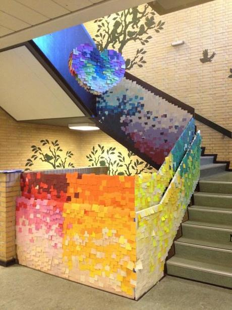 Pixelated post-it staircase