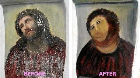 """The once-dignified portrait now resembles a crayon sketch of a very hairy monkey in an ill-fitting tunic, he says."" I like it better the new way. (Read more about how an 80-something year old woman took it upon herself to restore a 19th century fresco in Spain.)"