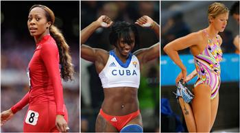 Olympians (L to R) Sanya Richards-Ross of the United States, Yarisley Silva of Cuba and Federica Pellegrini of Italy. Yüksel Aytuğ wrote female Olympians looked like men. AP, AFP, REUTERS photos