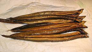 English: Smoked Eel, Netherlands Nederlands: G...