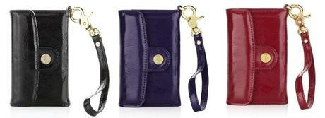Luxury Leather Wallet iPhone 4 / 4S Case - Black, Purple, Red