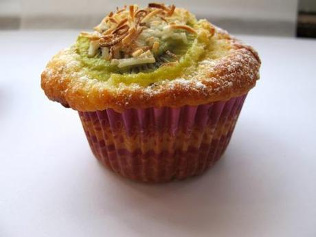 Kiwifruit, lime and coconut muffin