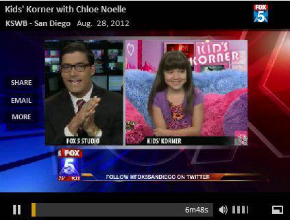 "Chloe Noelle Talks to Fox 5 on their ""Kids Corner"""