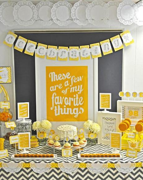 A 98th Birthday Party, Gorgeous Yellow and Grey Themed Party by Meghily - Party in Style