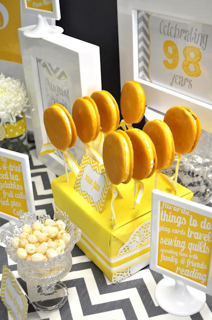 A 98th Birthday Party Gorgeous Yellow And Grey Themed