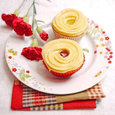 Lemon Cupcakes with Pastry Cream and Raspberry Curd
