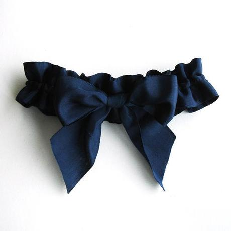 handmade wedding bow garter in navy blue