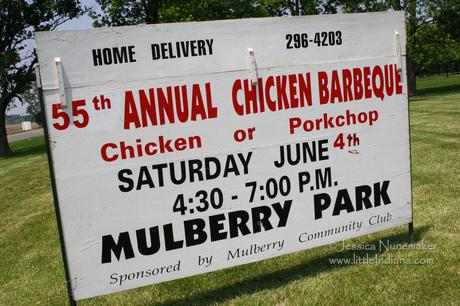 MulberryFest in Mulberry, Indiana: Notice the Sign Mentions Home Delivery!