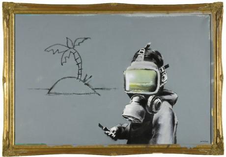 "arrestedmotion1 460x319 Banksy – ""Gas Mask Boy"" piece at Sotheby's"