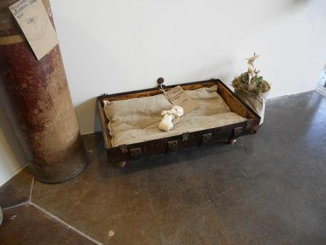 Dog bed made from vintage suitcase