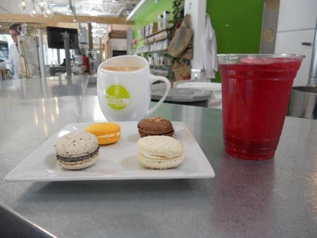 Portola Coffee, crimson berry iced tea and assortment of macaroons