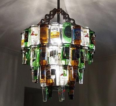 Beer Bottle Chandeliers