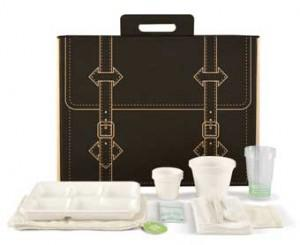 compostable picnic basket and plates