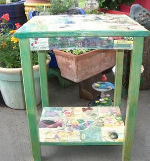 Decoupaged Side Table & Chair