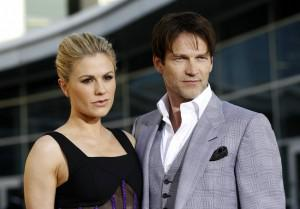 Anna Paquin and Stephen Moyer on the red carpet at the season 4 premiere of True Blood