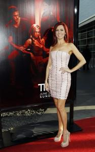 Carrie Preston on the red carpet at the season 4 premiere of True Blood