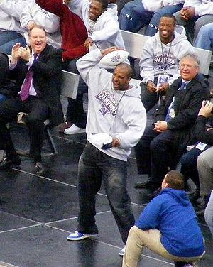 David Tyree re-enacting his now-famous catch d...