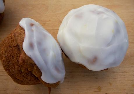 Carrot cake muffins with cream cheese icing