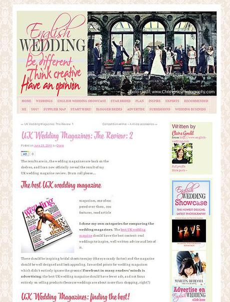 UK wedding magazine review on English Wedding blog