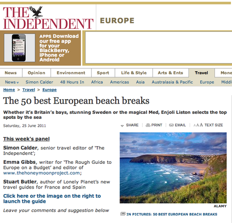 In the press: The 50 best European beach breaks