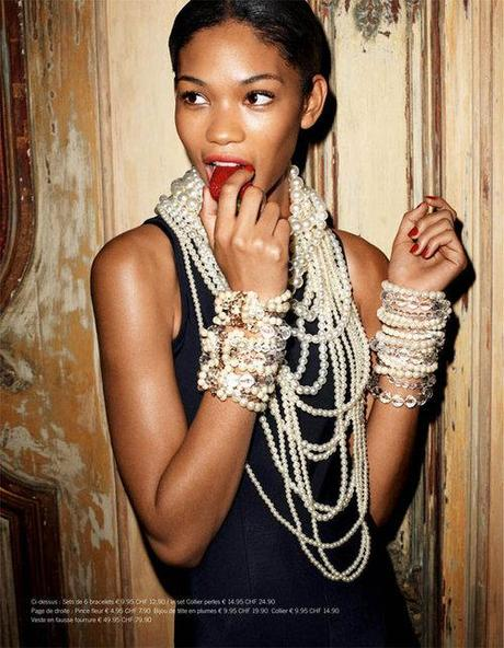 chanel iman wearing pearls