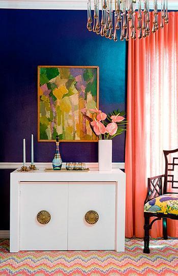 white console blue wall peach drapes zig zag rug via designstiles