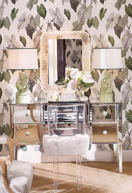 tropical wallpaper mirrored vanity glam lucite stool