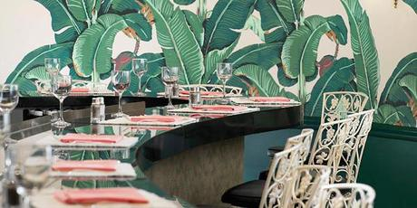Beverly Hills Hotel: Martinique wallpaper in coffee shop