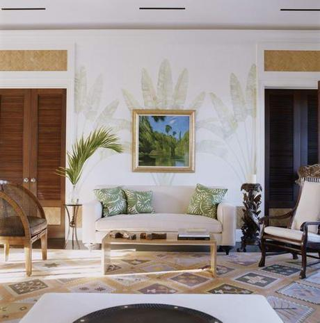 palm fronds painted living room via the lennoxx