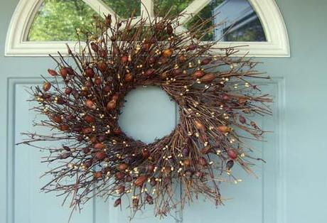 etsy door wreath Fall Color ~ Designing with Brown HomeSpirations