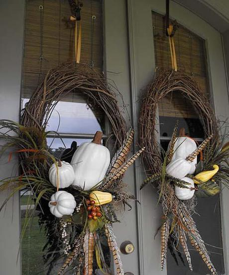pumpkin wreaths Fall Color ~ Designing with Brown HomeSpirations