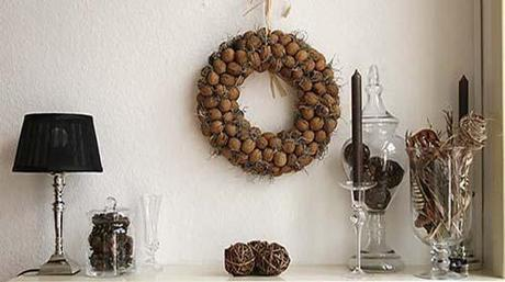 Fall mantel decoration walnut wreath Fall Color ~ Designing with Brown HomeSpirations