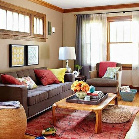 brown sofa colorful pillows and rug bhg Fall Color ~ Designing with Brown HomeSpirations