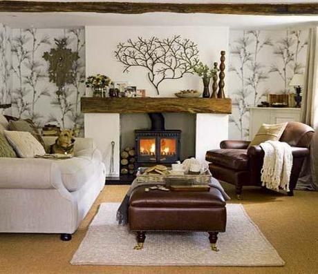 Living room Fall Color ~ Designing with Brown HomeSpirations