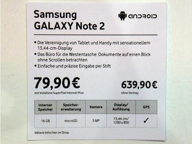 price galaxy note 2