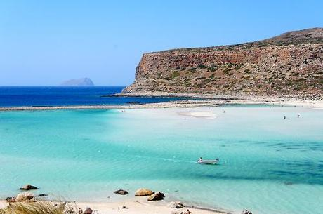Balos Beach at Cape Tigani on the Gramvouva Peninsula. The...