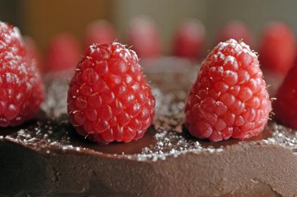Chocolate Cake with Raspberry Mascarpone Filling and Chocolate Ganache Frosting