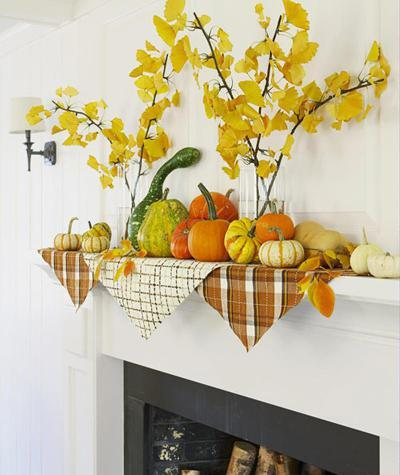 1011 gourds on fireplace mantel xl Fall Color ~ Designing with Shades of Yellow HomeSpirations
