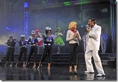 (front right)  Tiffany Trainer plays beauty school dropout Frenchie, Jeff Max is her Teen Angel, with (back, from left) Lara Manier (Jan), Darcy Wood (Marty), Shanna Heverly (Patty) and Jessica Kingsdale (Rizzo) in Paramount Theatre's 2012-13 Broadway series season opener Grease. (photo credit: Liz Lauren)