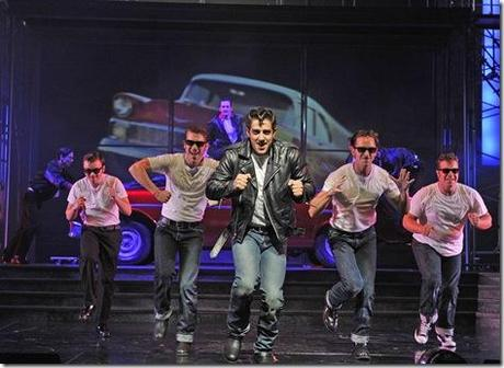 Adrian Aguilar (center) plays Kenickie, rockin' 'n' rollin' with his fellow Rydell High greasers (back, from left) Doody (Sean Effinger-Dean), Sonny (Creg Sclavi), Danny (Skyler Adams) and Roger (J. Michael Finley) in Grease. (photo credit: Liz Lauren)