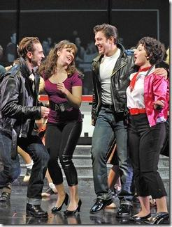 (from left) Skyler Adams plays Danny, Emma Ritchie is Sandy, Adrian Aguilar plays Kenickie and Jessica Kingsdale is Rizzo in Paramount Theatre's 2012-13 Broadway series season opener Grease. (photo credit: Liz Lauren)