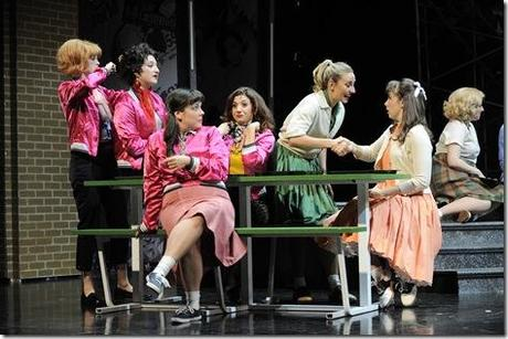 (front right)  Tiffany Trainer plays Frenchie, Jessica Kingsdale  is Rizzo, Lara Manier is Jan, Darcy Wood plays Marty, Shanna Heverly is Patty, Emma Ritchie plays Sandy Dumbrowski and Allie Parris is an ensemble member in Paramount Theatre's 2012-13 Broadway series season opener Grease.